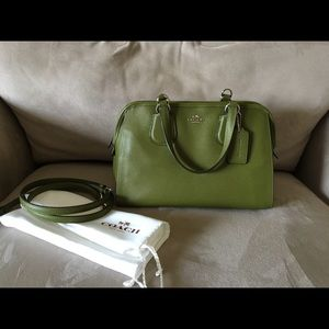Coach Satchel with Crossbody Strap in Moss Green